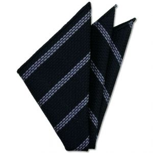 Powder Blue Stripe On Midnight Blue Grenadine Grossa Silk Pocket Square # 4
