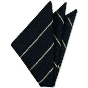 Off White Stripe On Midnight Blue Grenadine Grossa Silk Pocket Square # 5