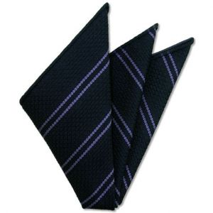 Lavender Stripe On Midnight Blue Grenadine Grossa Silk Pocket Square # 6