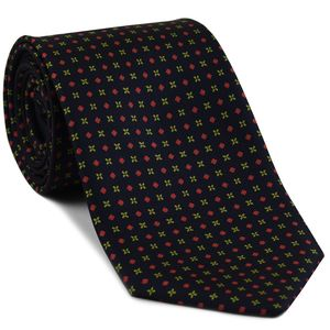 Orange-Red & Yellow-Green on Midnight Blue Macclesfield Printed Silk Tie # 194