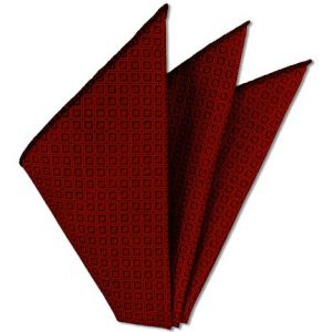 Red Brocade Cotton Pocket Square # 1