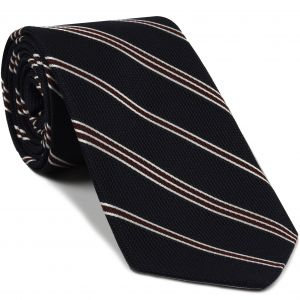 Dark Red & White On Midnight Blue Grenadine Fina Stripe Silk Tie #4