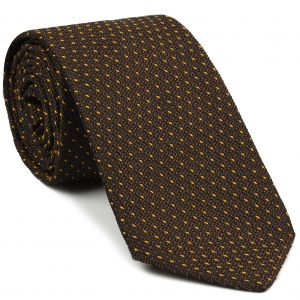 Yellow Gold On Chocolate Grenadine Grossa Pin Dot Silk Tie #8