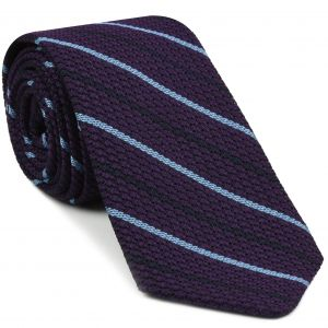 Sky Blue And Midnight Blue On Purple Grenadine Grossa Stripe Silk Tie #11