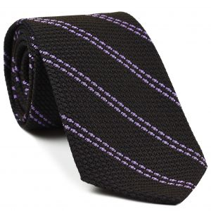 Soft Magenta Stripe On Bitter Chocolate Grenadine Grossa Stripe Silk Tie #7