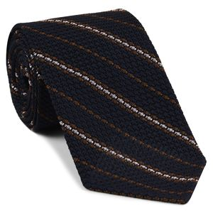 Brown And Light Pink On Midnight Blue Grenadine Grossa Stripe Silk Tie #8
