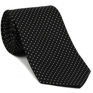 White On Black Printed Pin Dot Silk Tie #1