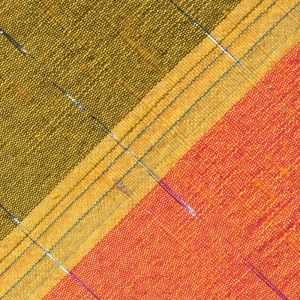 Corn Yellow Stripe on Salmon and Dark Yellow With a Thin Metallic Silver Stripe Thai Rough Silk Pocket Square # 11