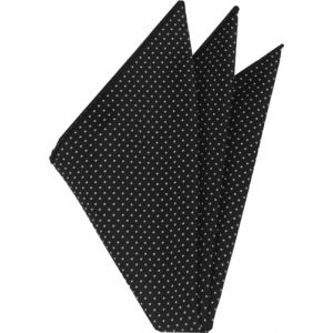 White On Black Printed Pin Dot Silk Pocket Square #MCPDP-1