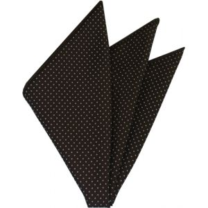 White On Bitter Chocolate Printed Pin Dot Silk Pocket Square #MCPDP-2