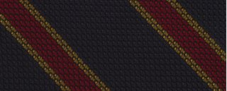Red & Yellow Gold Stripes On Midnight Blue Grenadine Tie #14