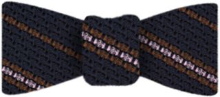 Brown And Light Pink On Midnight Blue Grenadine Grossa Stripe Silk Bow Tie #8