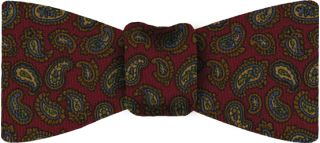 Red Paisley Pattern Challis Wool Bow Tie #9