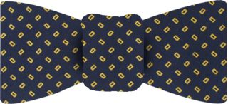 Yellow Gold on Midnight Blue Macclesfield Printed Silk Bow Tie #25