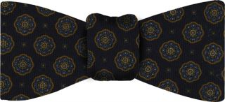 Midnight Blue Pattern Challis Wool Bow Tie #4
