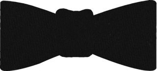 Black Solid Challis Wool Bow Tie #1