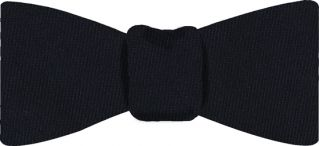 Midnight Blue Solid Challis Wool Bow Tie #4
