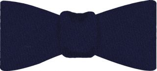 Navy Blue Solid Challis Wool Bow Tie #5