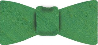 Lime Green Thai Rough Silk Bow Tie #4