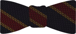 Red & Yellow gold Stripes on mid night blue Grenadine Tie #14Red & Yellow Gold Stripes On Midnight Blue Grenadine Bow Tie #14