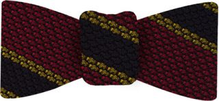 Midnight Blue & Yellow Gold Stripes On Red Grenadine Bow Tie #13