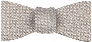Silver/Brown Grenadine Grossa Silk Bow Tie #23