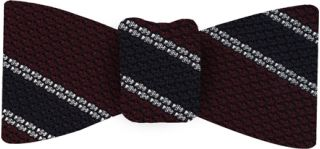 Midnight Blue & White Stripe On Red Grenadine Tie #16Midnight Blue & White Stripe On Red Grenadine Bow Tie #16