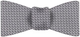 Charcoal Gray/Silver Grenadine Silk Bow Tie #21Charcoal Gray/Silver Grenadine Grossa Silk Bow Tie #21