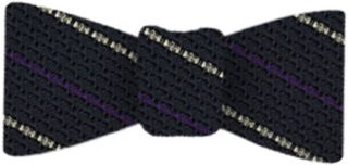 Purple And Off White On Midnight Blue Grenadine Grossa Stripe Silk Bow Tie # 9