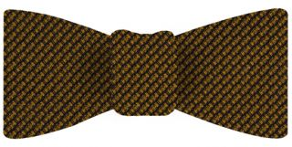 Gold & Midnight Blue Cashmere/Silk Grenadine Grossa Silk Bow Tie #8