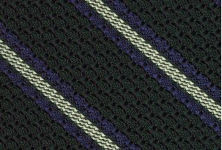 Lavender And Soft Green On Forest Green Grenadine Grossa Stripe Silk Tie #10