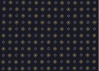 Gold, Off-White & Blue on Midnight Blue Macclesfield Print Pattern Silk Tie #MCT-494
