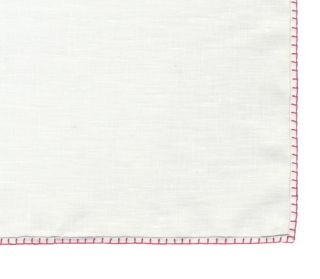 Belgian White Linen Pocket Squares with Dark Pink Hand Sewn Decorative Flat Edges