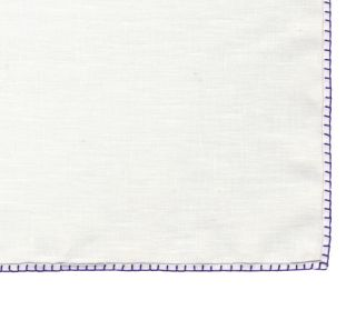 Belgian White Linen Pocket Squares with Purple Hand Sewn Decorative Flat Edges