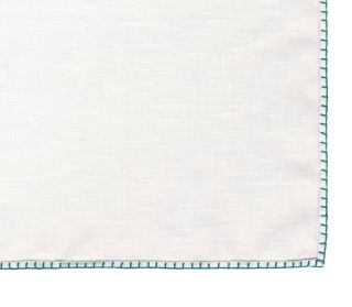 Belgian White Linen Pocket Squares with Turquise Hand Sewn Decorative Flat Edges