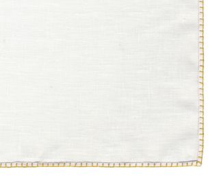 Belgian White Linen Pocket Squares with Gold Hand Sewn Decorative Flat Edges