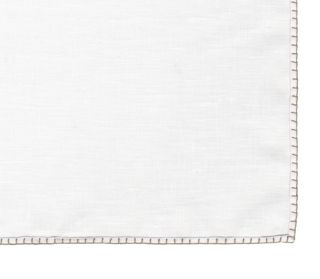 Belgian White Linen Pocket Squares with Brown/Silver Hand Sewn Decorative Flat Edges