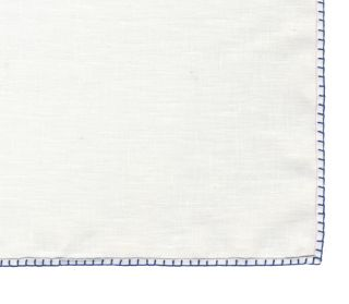 Belgian White Linen Pocket Squares with Navy Blue Hand Sewn Decorative Flat Edges