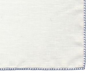 Belgian White Linen Pocket Squares with Dark Navy Blue Hand Sewn Decorative Flat Edges