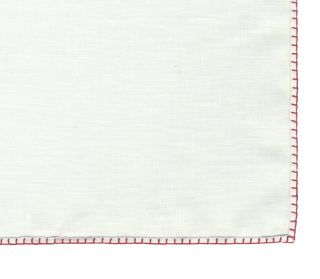 Belgian White Linen Pocket Squares with Dark Red Hand Sewn Decorative Flat Edges