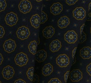 Macclesfield Midnight Blue Pattern Challis Wool Pocket Square #4