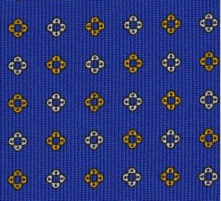 Off-White & Yellow Gold on Royal Blue Macclesfield Print Pattern Silk Tie #MCT-475