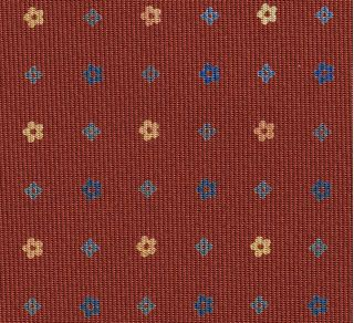Blue, Sky Blue & Light Yellow on Burnt Orange Macclesfield Print Pattern Silk Tie #MCT-503
