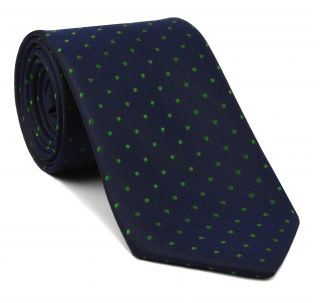Celtic Green Dots on Midnight Blue Pin-Dot Silk Tie #EPDT-13