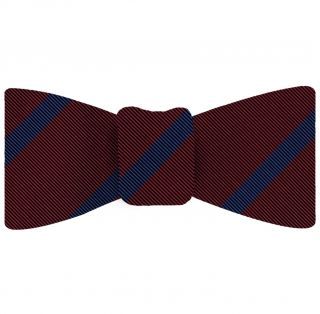 Blue on Dark Red Mogador Striped Bow Tie #MGSBT-3