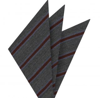 Dark Red & Powder Blue Stripe on Charcoal Gray Cashmere Pocket Square #GSCP-1