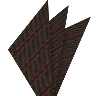 Navy Blue & Burnt Orange Stripe on Dark Chocolate Cashmere Tie #GSCT-2