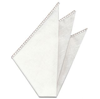 Belgian White Linen Pocket Squares with Brown Hand Sewn Decorative Flat Edges