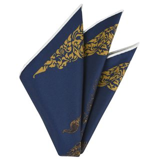 Gold on Navy Traditional Thai Print Silk Pocket Square #3
