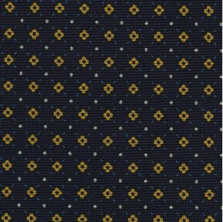 Yellow Gold, Blue & White on Midnight Blue Macclesfield Print Silk Tie #249